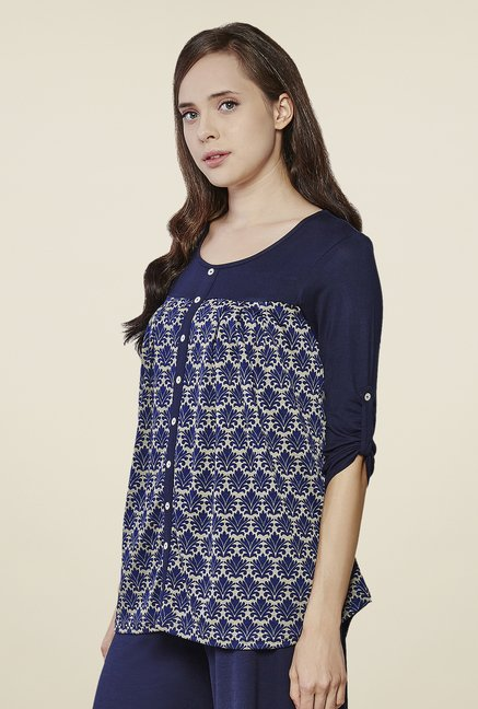 AND Navy Floral Print Top