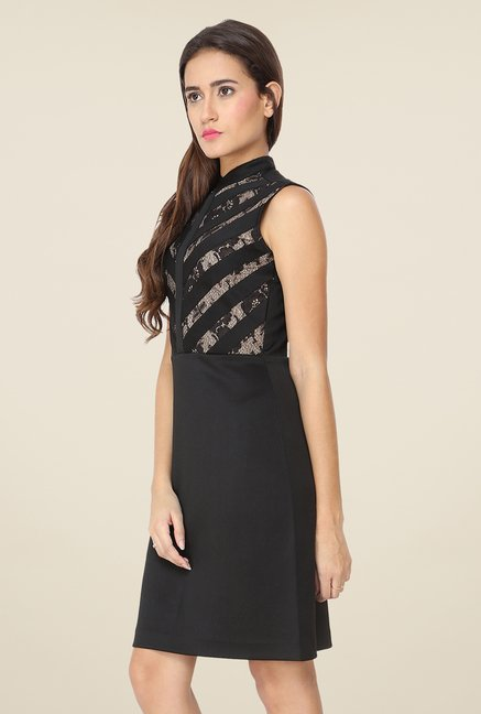 Soie Black Printed Dress
