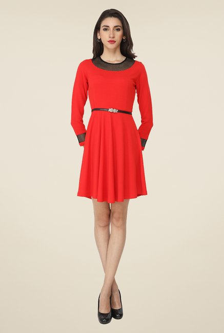 Soie Red Solid Dress