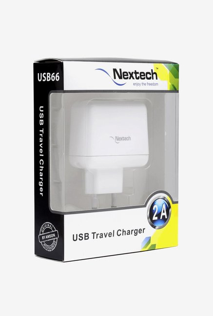 Nextech USB38 USB Travel Charger with Cable (White)