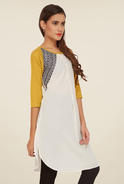 Soie Off White Solid Tunic