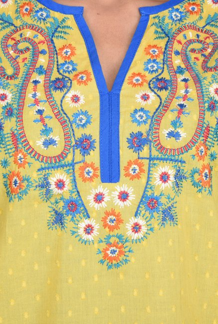 Juniper Yellow Embroidered Tunic