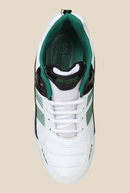 Columbus Tab-2002 White & Green Running Shoes
