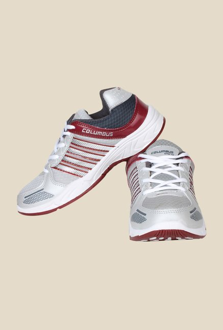 Columbus Tab-115 Grey & Maroon Running Shoes