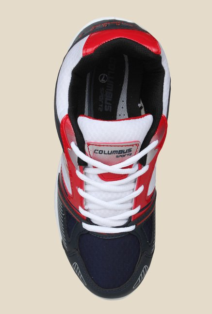 Columbus Tab-124 White & Navy Running Shoes
