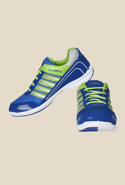 Columbus Tab-1115 Blue & Green Running Shoes