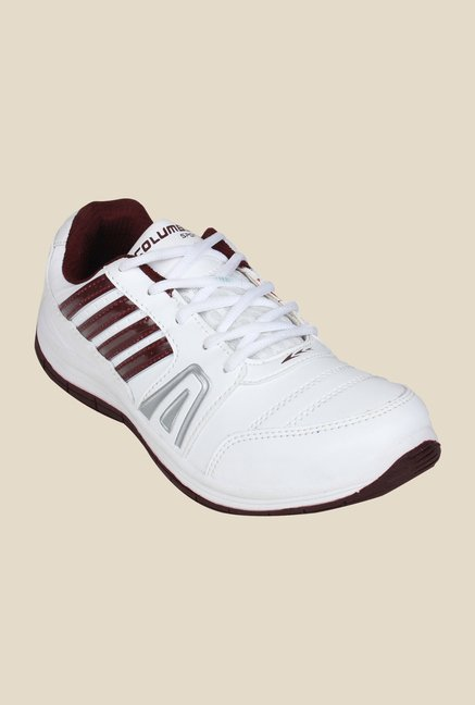 Columbus FM-15 White & Maroon Running Shoes