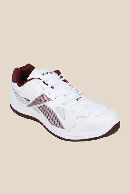 Columbus FM-14 White & Maroon Running Shoes