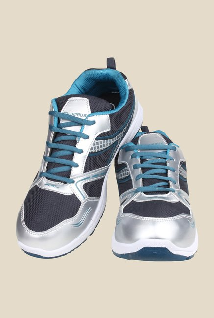 Columbus Tab-5002 Silver & Blue Running Shoes