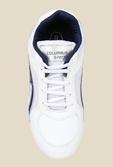 Columbus Tab-5001 White & Navy Running Shoes