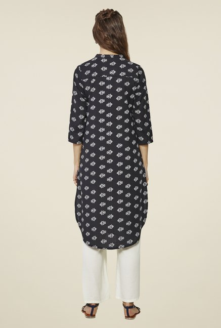 Global Desi Black Mariko Tribal Printed Kurta