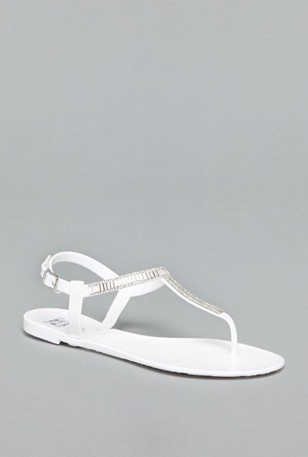 Head Over Heels by Westside White Back Strap Sandals