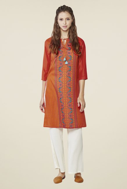 Global Desi Orange Blyss Printed Kurta