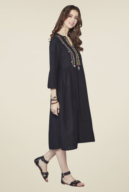 Global Desi Black Haven Embroidered Kurta