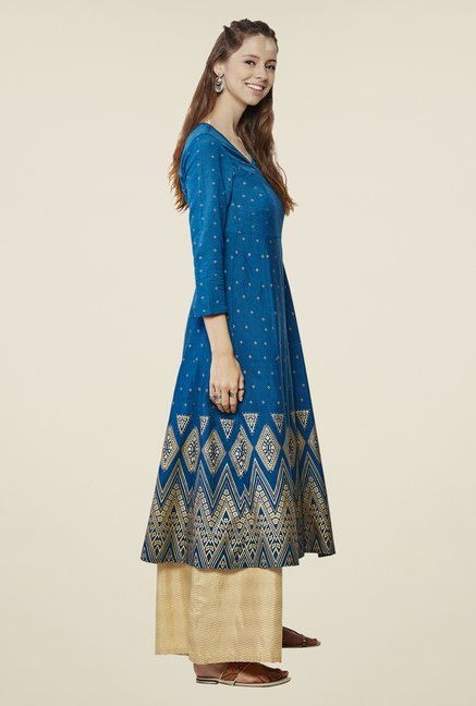 Global Desi Blue Gia Flare Printed Kurta