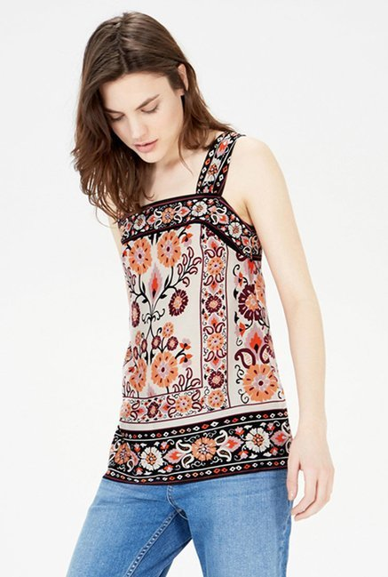Warehouse Multicolor Floral Print Top