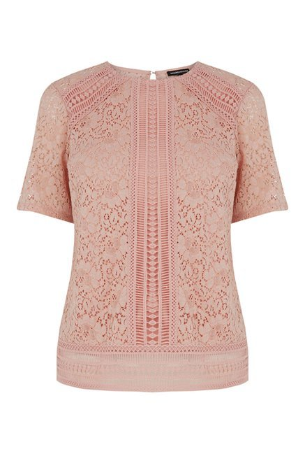 Warehouse Pink Lace Top
