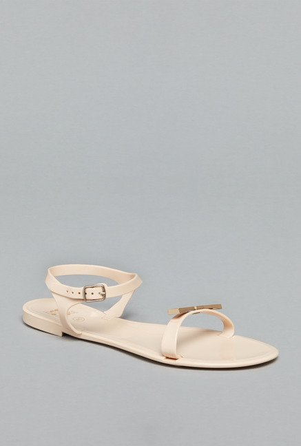 Head Over Heels by Westside Beige Ankle Strap Sandals