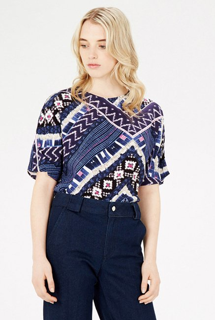 Warehouse Blue Printed Top