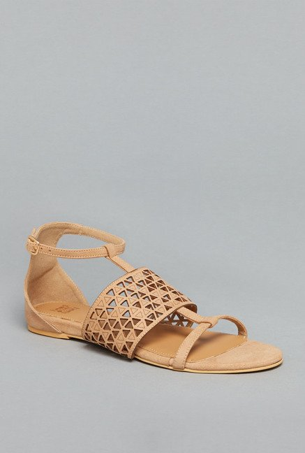 Head Over Heels by Westside Tan Ankle Strap Sandals