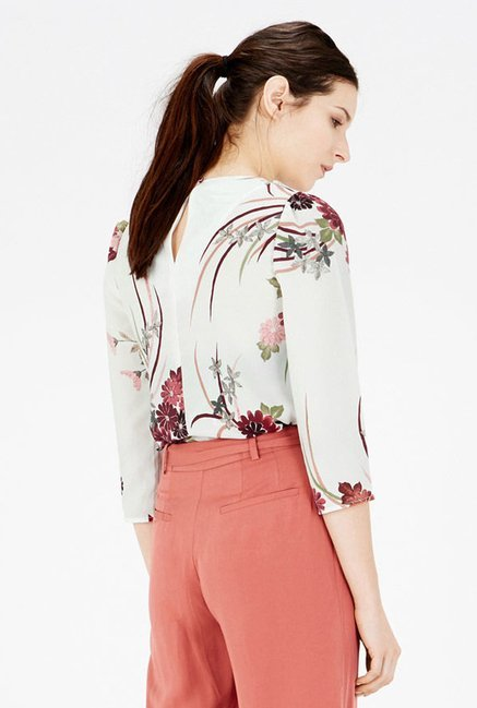 Warehouse Off White Floral Printed Top