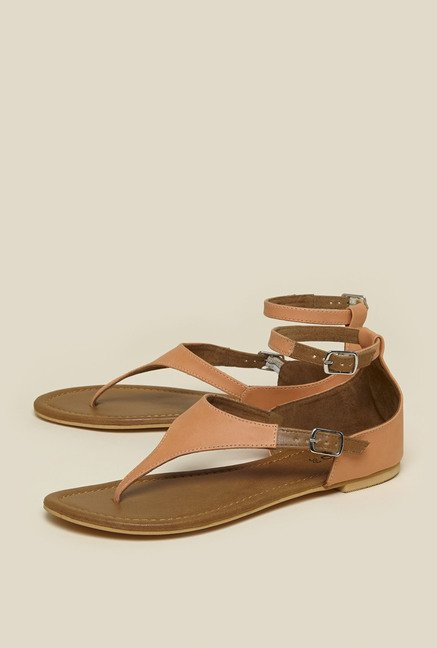 Zudio Peach Ankle Strap Sandals
