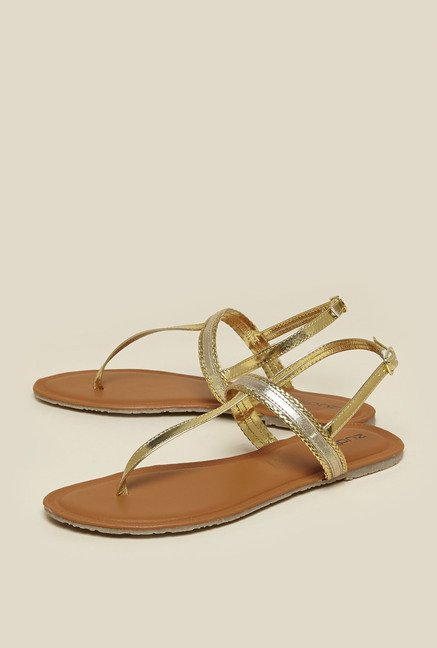 Zudio Gold Sling Back Sandals