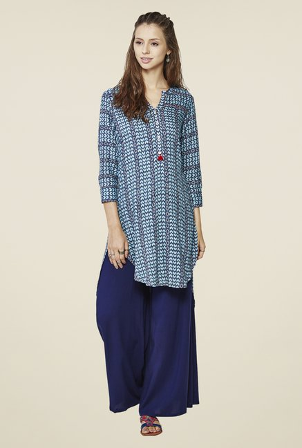 Global Desi Blue Fira High Low Tunic