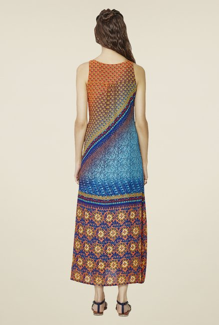 Global Desi Orange & Blue Maxi Dress