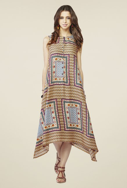 Global Desi Orange & Blue Shift Dress