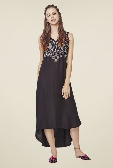 Global Desi Black Embroidered Dress