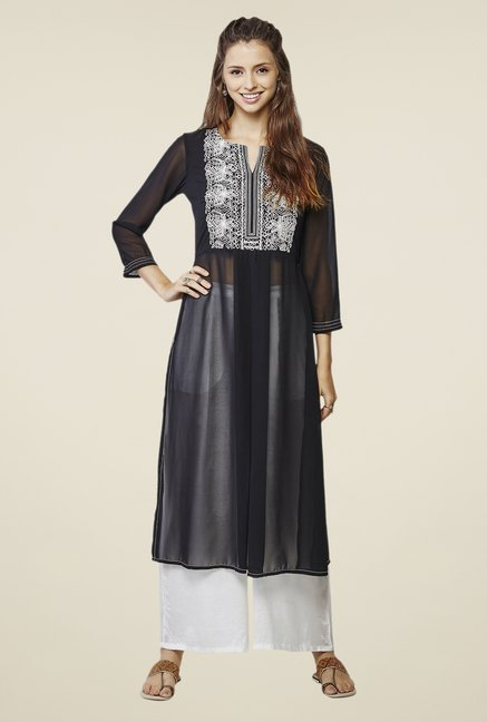 Global Desi Black Embroidered Two Piece Suit Set