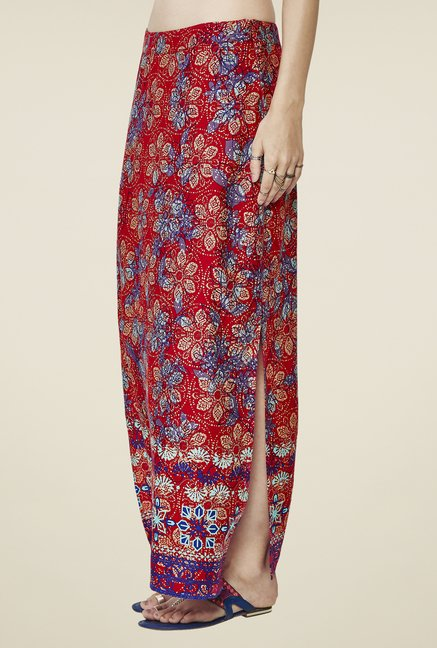 Global Desi Maroon Printed Skirt