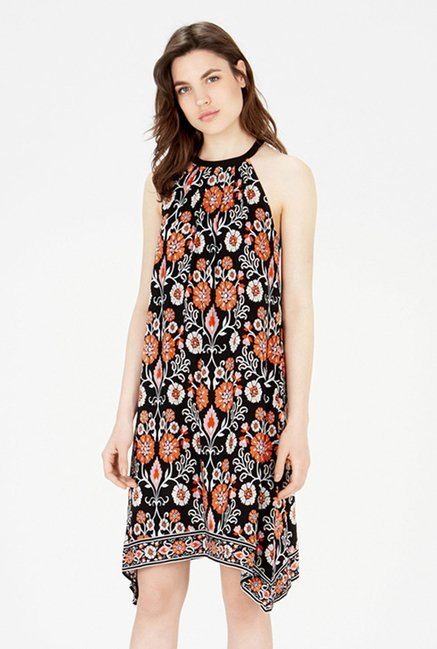 Warehouse Black Floral Print Dress