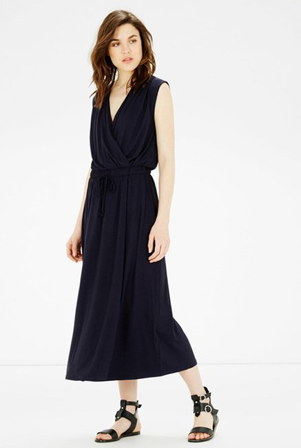 Warehouse Navy Solid Dress