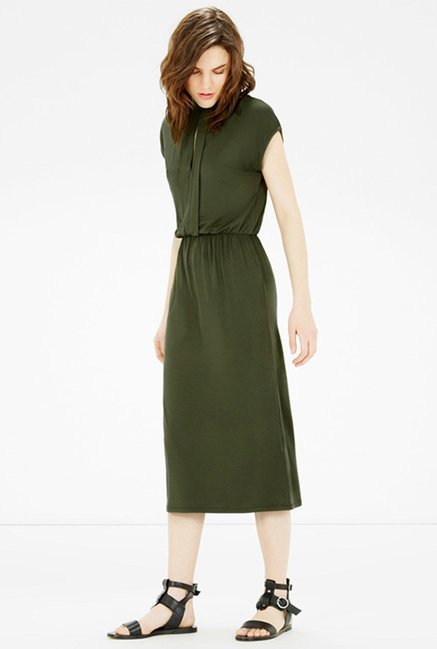 Warehouse Olive Solid Dress