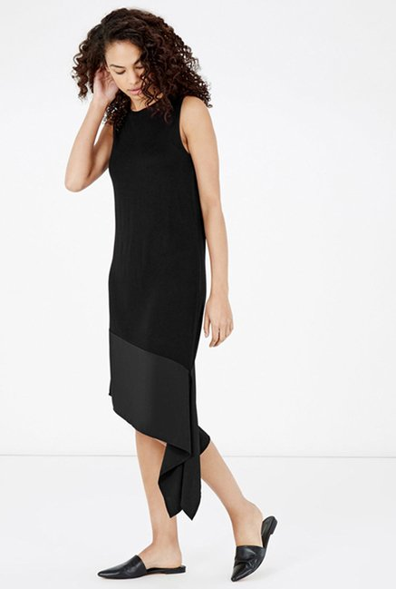 Warehouse Black Solid Dress