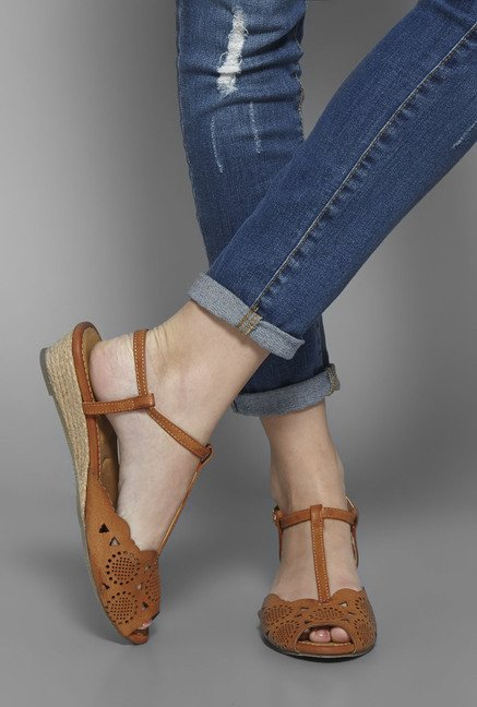 Boho by Westside Tan Wedge Sandals