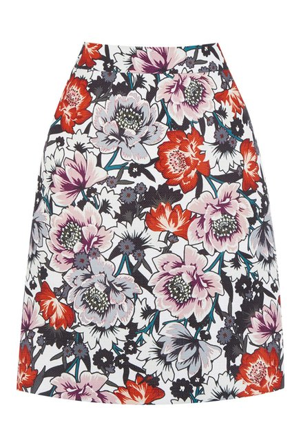 Warehouse Multicolor Floral Print A Line Skirt