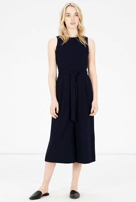Warehouse Navy Solid Jumpsuit