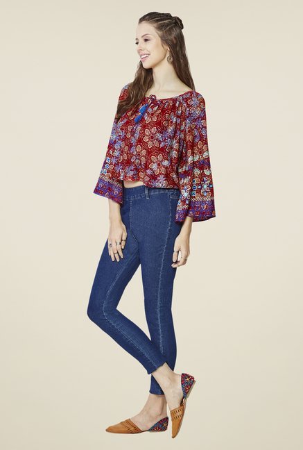 Global Desi Red Emina Floral Print Top