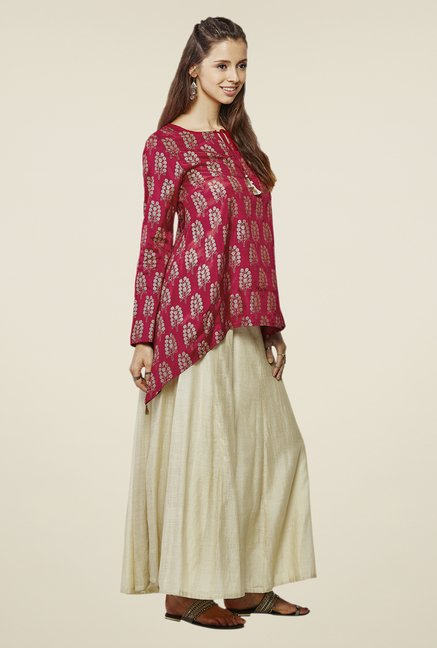 Global Desi Maroon Mesa Asymmetrical Top