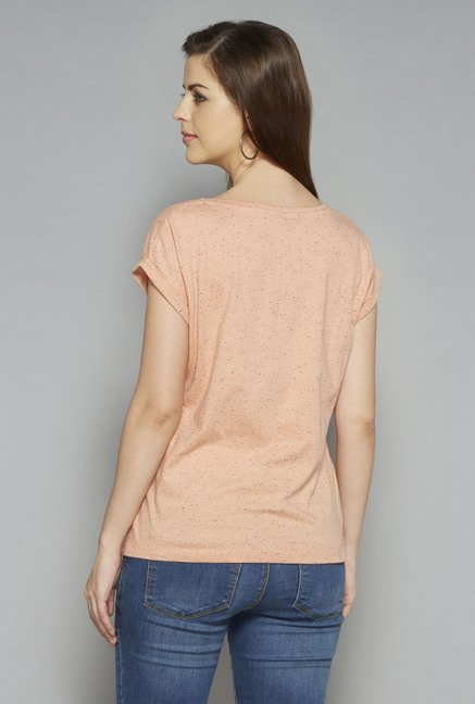 LOV by Westside Peach Textured Lana T Shirt