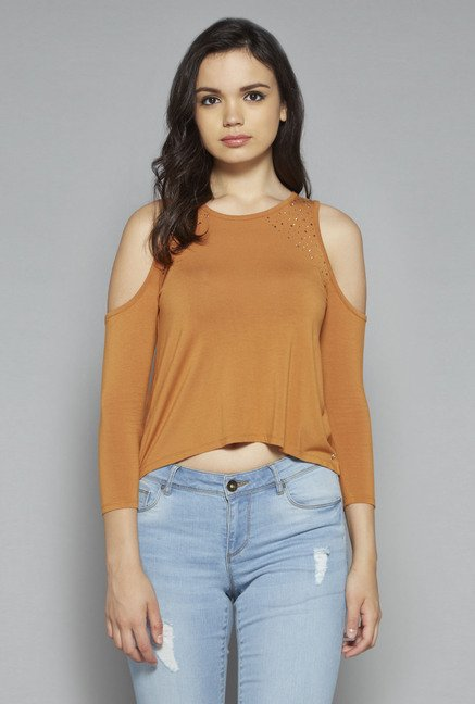 Nuon by Westside Tan Blare Top