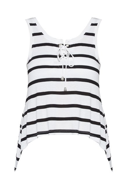 Nuon by Westside White Striped T Shirt