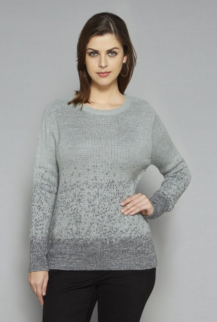 LOV by Westside Grey Daisy Sweater