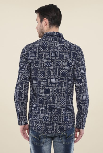 Mufti Navy Tribal Print Shirt