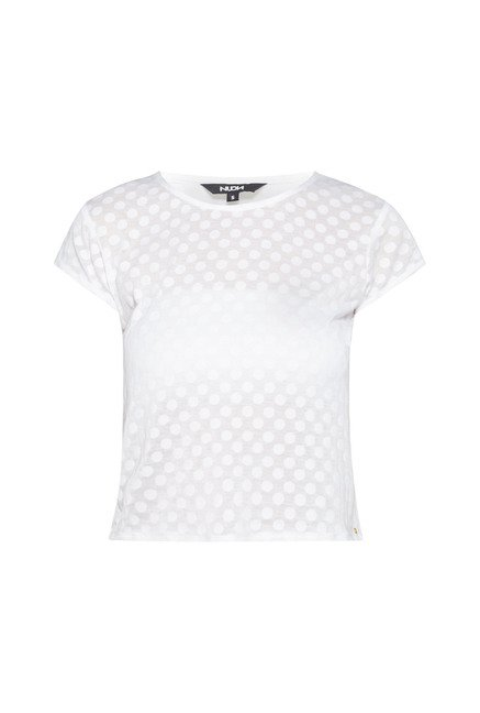 Nuon by Westside White Slim Fit Flappy Crop Top