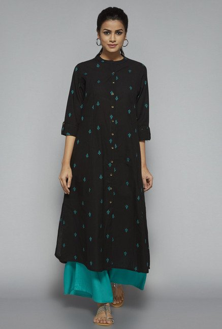 Utsa by Westside Black Embroidered Kurta