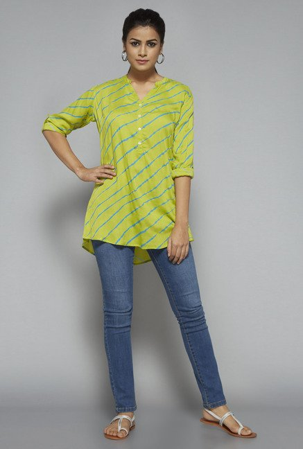 Utsa by Westside Lime Striped Kurti